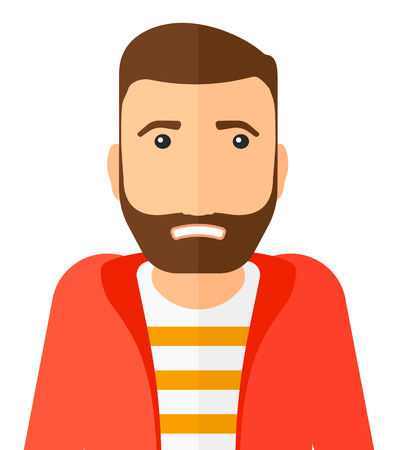 Embarrassed hipster man with the beard vector flat design illustration isolated on white background. Vertical layout.