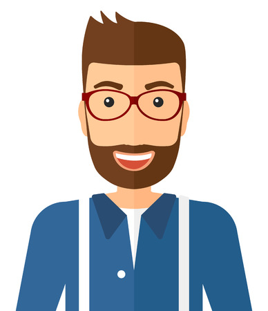 Cheerful hipster man with the beard laughing ecstatically vector flat design illustration isolated on white background. Vertical layout.