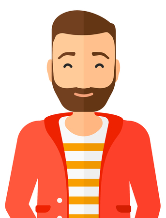 eyes closed: Pleased man with his eyes closed vector flat design illustration isolated on white background. Vertical layout. Illustration