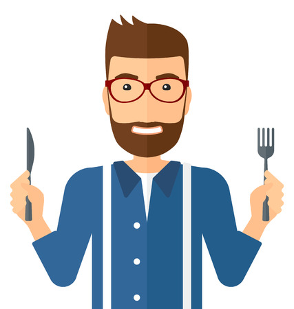 impatient: Hungry man with fork and knife raised vector flat design illustration isolated on white background. Square layout.