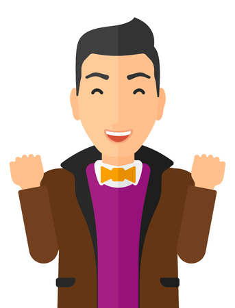 euphoria: Cheerful man in euphoria with raised hands and closed eyes vector flat design illustration isolated on white background. Vertical layout.