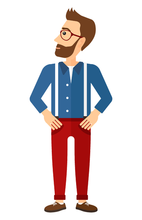 Young man proud of himself vector flat design illustration isolated on white background. Vertical layout.