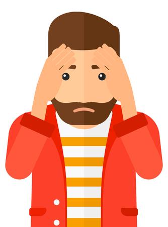 彼の頭をつかんでひげと後悔している流行に敏感な人は、白い背景で隔離の平らな設計図をベクトルします。縦型レイアウト。