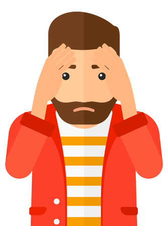 Repentant hipster man with the beard clutching his head vector flat design illustration isolated on white background. Vertical layout.