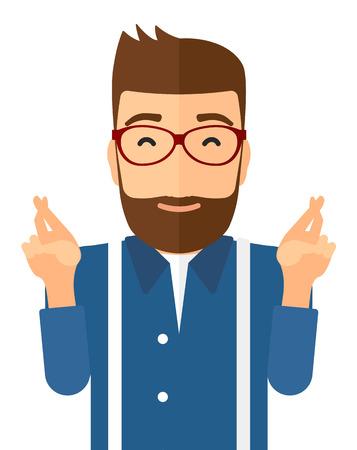 Hoopvolle hipster man houden de vingers gekruist en de ogen gesloten vector platte ontwerp illustratie op een witte achtergrond. Verticale lay-out.