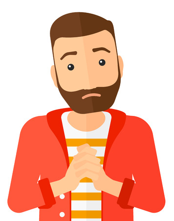 shame: Regretful hipster man with clasped hands vector flat design illustration isolated on white background. Vertical layout.