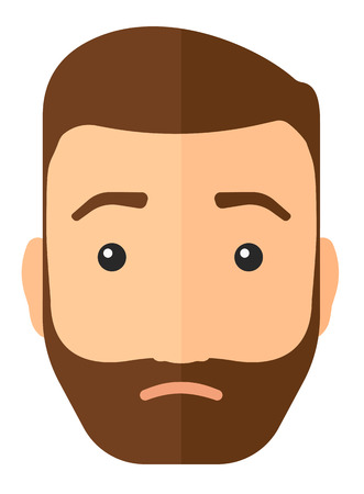 Young depressed man with the beard vector flat design illustration isolated on white background. Vertical layout. Illusztráció