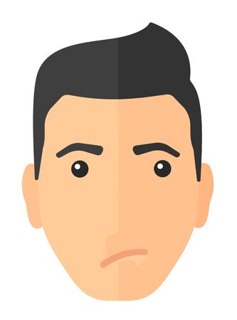 frown: Envious caucasian man vector flat design illustration isolated on white background. Vertical layout. Illustration