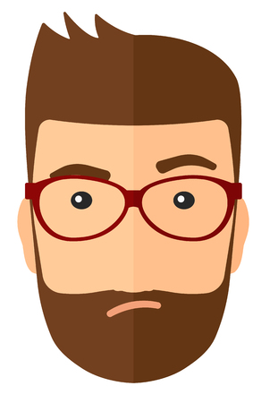 grudge: Envious man in glasses vector flat design illustration isolated on white background. Vertical layout.