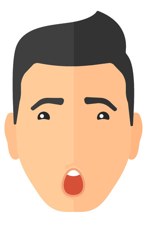 unexpectedness: Scared man with open mouth vector flat design illustration isolated on white background. Vertical layout. Illustration