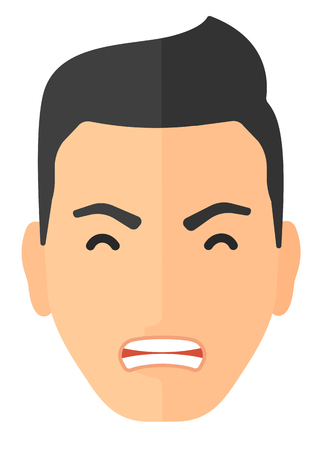 Screaming aggressive man vector flat design illustration isolated on white background. Vertical layout.