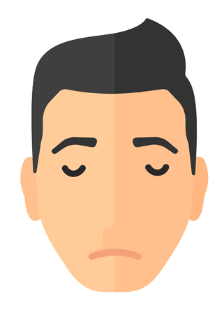 hombre en duelo con los ojos cerrados ilustración vectorial diseño plano aislado en el fondo blanco. disposición vertical.
