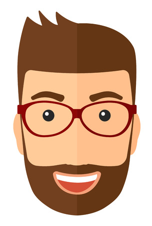 ecstasy: Cheerful hipster man in glasses laughing ecstatically vector flat design illustration isolated on white background. Vertical layout.