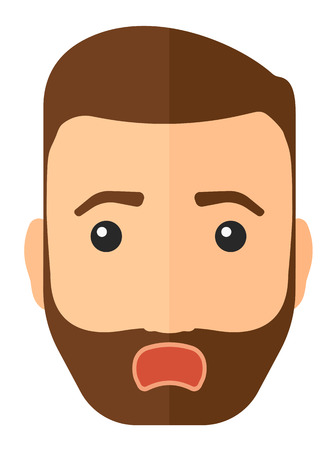 Scared hipster man with open mouth vector flat design illustration isolated on white background. Vertical layout. 向量圖像