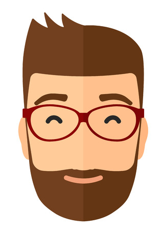 pleased: Pleased man in glasses with his eyes closed vector flat design illustration isolated on white background. Vertical layout. Illustration