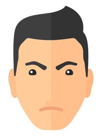 frown: Detesting angry man vector flat design illustration isolated on white background. Vertical layout.