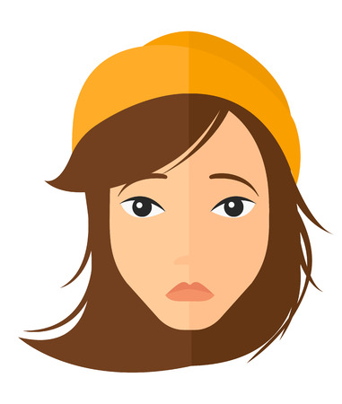 restless: Young depressed woman vector flat design illustration isolated on white background. Vertical layout.