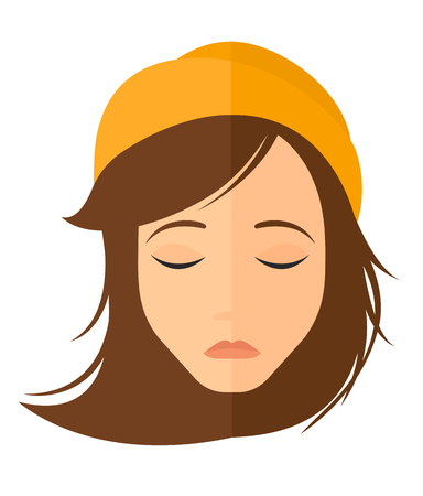 grieving: Grieving woman with eyes closed vector flat design illustration isolated on white background. Vertical layout.