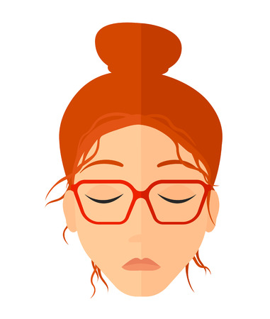 miserable: Grieving woman with eyes closed vector flat design illustration isolated on white background. Vertical layout.