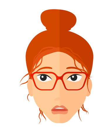 Young embarrassed woman vector flat design illustration isolated on white background. Vertical layout. Illustration