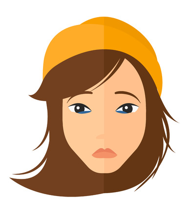 miserable: Young depressed woman vector flat design illustration isolated on white background. Vertical layout.