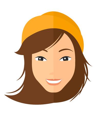 Mujer feliz sonriente vector de diseño plano ilustración aislado sobre fondo blanco. disposición vertical. Ilustración de vector