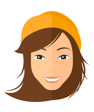 Smiling happy woman vector flat design illustration isolated on white background. Vertical layout. Vektorové ilustrace
