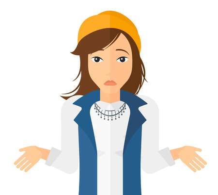 Confused woman shrugging her shoulders vector flat design illustration isolated on white background. Horizontal layout.