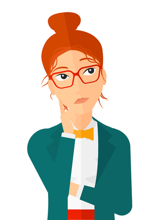 Doubtful young woman vector flat design illustration isolated on white background. Vertical layout.