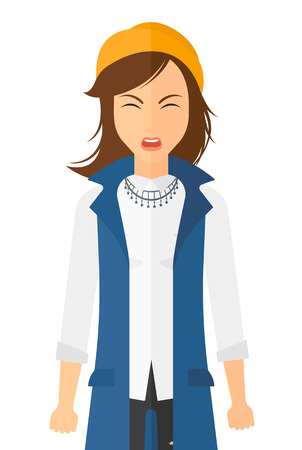 Screaming aggressive woman vector flat design illustration isolated on white background. Vertical layout. 向量圖像
