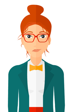 sneaky: Envious woman in glasses vector flat design illustration isolated on white background. Vertical layout.