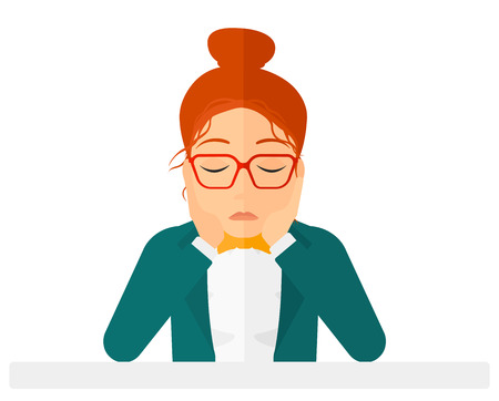 Anxious woman clutching her head vector flat design illustration isolated on white background. Horizontal layout.