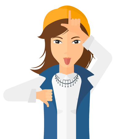 tease: Contemptuous woman sticking out her tongue and showing thumb down sign vector flat design illustration isolated on white background. Vertical layout. Illustration
