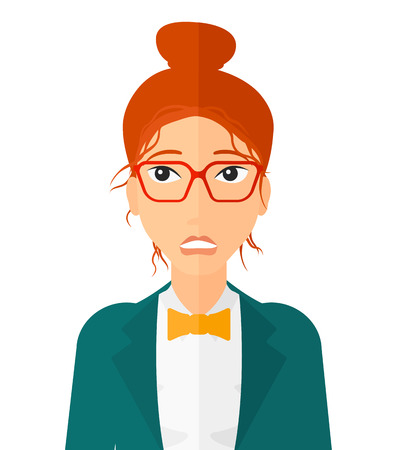 Embarrassed woman in glasses vector flat design illustration isolated on white background. Vertical layout. 일러스트