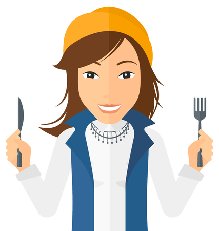 impatient: Hungry woman with fork and knife raised vector flat design illustration isolated on white background. Square layout.
