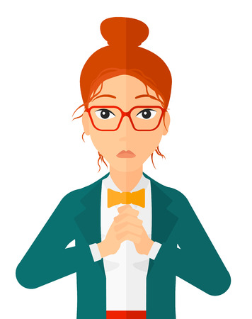 gaffe: Regretful woman with clasped hands vector flat design illustration isolated on white background. Vertical layout. Illustration