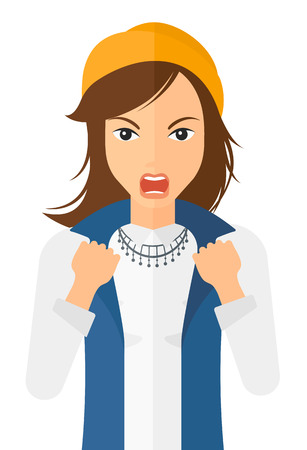 Raging woman screaming with clenched fists vector flat design illustration isolated on white background. Vertical layout.