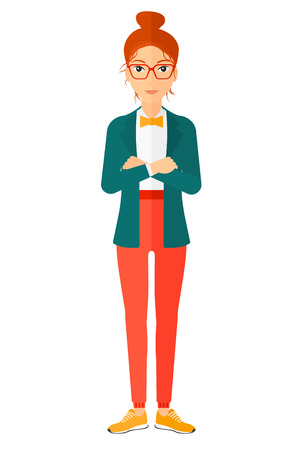 A happy standing woman crossing her arms vector flat design illustration isolated on white background. Vertical layout.