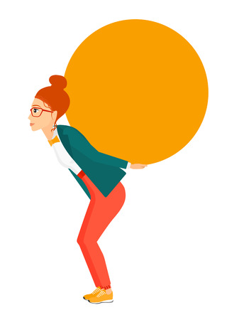 sacrifice: A tired caucasian woman carrying a big ball on her back vector flat design illustration isolated on white background. Vertical layout.