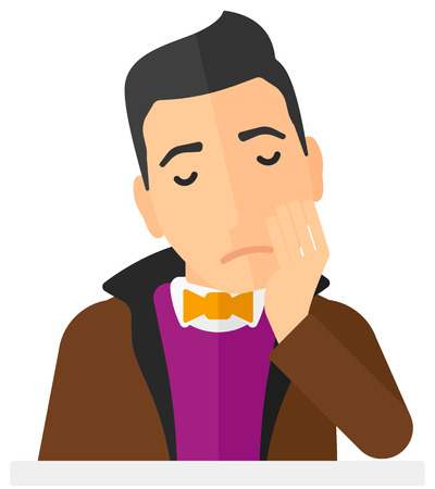 restless: Young depressed man vector flat design illustration isolated on white background. Vertical layout.