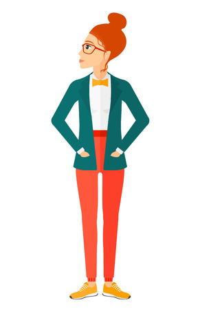 Young woman proud of herself vector flat design illustration isolated on white background. Vertical layout.