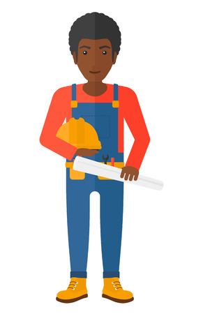 hard: A happy engineer holding a hard hat and a twisted blueprint in hands vector flat design illustration isolated on white background. Illustration