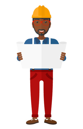considering: An african-american engineer considering a blueprint vector flat design illustration isolated on white background.