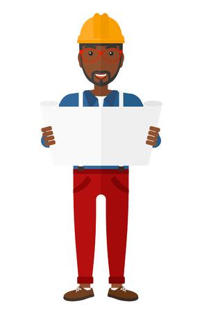 Een Afro-Amerikaanse ingenieur overwegen van een blauwdruk vector plat ontwerp illustratie op een witte achtergrond.