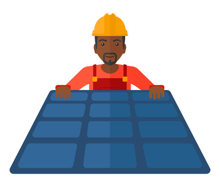 setup man: An african-american constructor with solar pannel in hands vector flat design illustration isolated on white background.