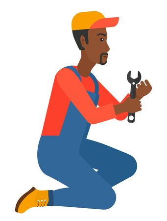 craftsperson: Young african-american repairman sitting with a spanner in hand vector flat design illustration isolated on white background.