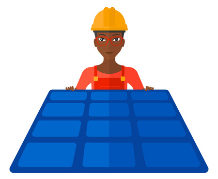 pannel: A female constructor with solar pannel in hands vector flat design illustration isolated on white background.