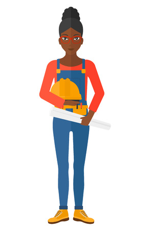 hard: A female engineer holding a hard hat and a twisted blueprint in hands vector flat design illustration isolated on white background.