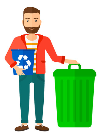 recycling: A hipster man with the beard standing with a recycle bin in hand and another bin on the ground vector flat design illustration isolated on white background. Vertical layout.