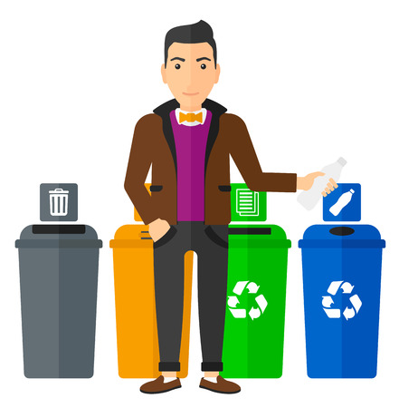 appropriate: Young man standing near four bins and throwing a plastic bottle in an appropriate bin vector flat design illustration isolated on white background. Square layout.